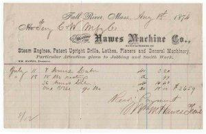 1874 Billhead, HAWES MACHINE CO.,  Steam Engines, Drills, Lathes, Fall River, MA