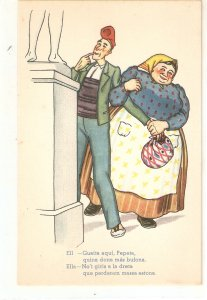 Pesant couple min front of nude statue,Humorous Spamnish postcard 1950s