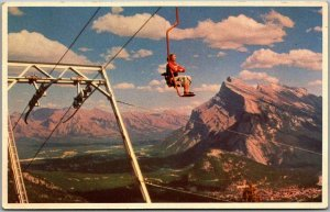 1950s Alberta Canada Postcard BANFF CHAIR LIFT w/ Mount Rundle View - Unused