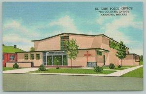 Hammond Indiana~Pink, Art Deco Saint John Bosco Church~1930s Linen PC