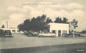 1953 Artesia New Mexico Kings Rest Courts roadside Artvue postcard 9685