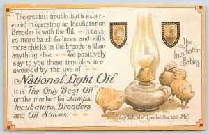 Cleveland Ohio~National Light Oil Advertising~Save the Chicks~Incubators c1910