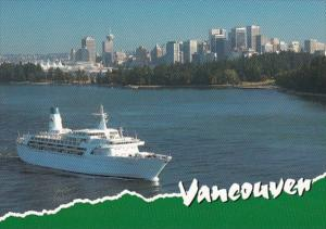 Canada British Columbia Vancouver Harbour With Departing Cruiseship