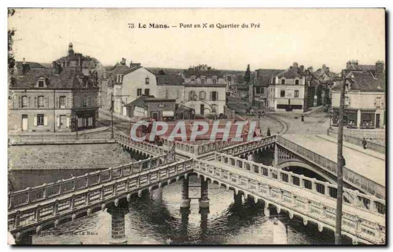 Old Postcard Le Mans Bridge X and First Quarter