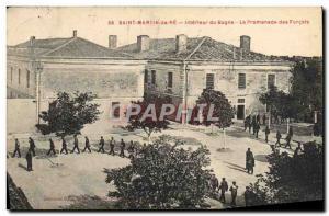 Postcard Old Steam Bagnard Ile de Re Saint Martin Inside the prison Parkway f...