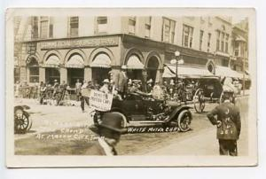 Mason City IA White Motor Car Hartworn Auto Co. Ad RPPC Real Photo Postcard