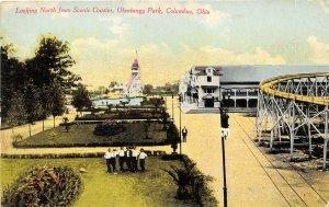 Columbus Ohio 1910 Postcard Olentangy Amusement Park Scenic Roller Coaster
