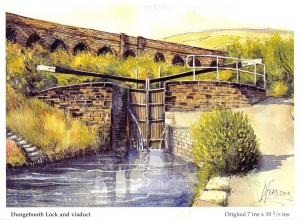 Art Postcard Dungebooth Lock & Viaduct, Oldham, Lancashire by D. Ford L42