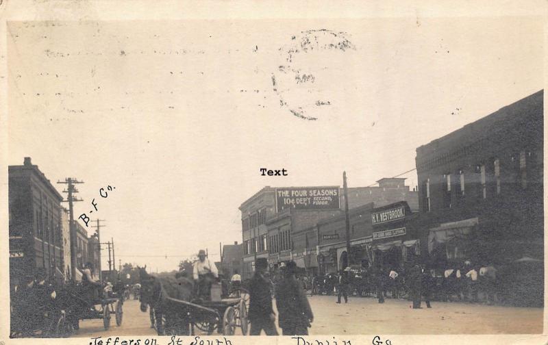 DUBLIN, GEORGIA JEFFERSON STREET SOUTH-1912 RPPC REAL PHOTO POSTCARD