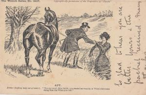 Apt Lady Falls Off Horse Disaster Wrench Series Antique Old Postcard