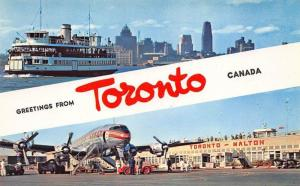 Canada Toronto - Malton - Airport Prop Airplane Ferry Boat Postcard
