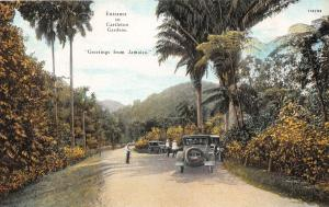 CASTLETON JAMAICA GREETINGS ENTRANCE TO GARDENS POSTCARD c1920s OLD CAR