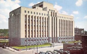 Des Moines Iowa~Bankers Life Company~1940s Cars~1950s Postcard