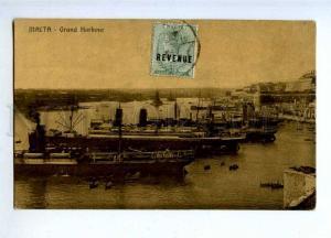 190315 MALTA Grand Harbou ships Vintage postcard