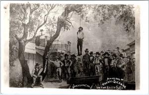 RPPC JACKSON, CA California  HANGING of RAFAEL ESCOBAR 1850s  c1940s Postcard
