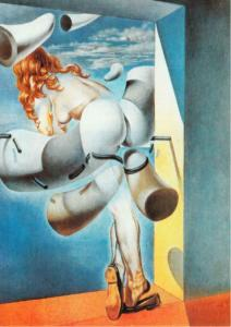 Young Virgin Auto-Sodomized by Her Own Chastity by Salvador Dali Art Postcard