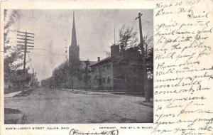 Galion Ohio~North Liberty Street~Church in Distance~1907 B&W Postcard