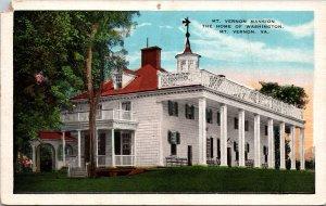 Mt. Vernon VA Mansion Home of Washington Postcard unused 1915-30s