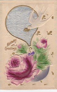 Birthday Red Rose Hot Air Balloon Dove with Lith Letter 1913 Embossed