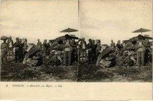 CPA AK INDOCHINA Tonkin Ouvriers au Repos VIETNAM (957332)