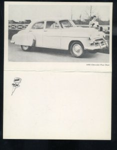 1950 CHEVROLET FOUR DOOR SEDAN VINTAGE CAR DEALER ADVERTISING POSTCARD '50 CHEVY