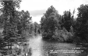 Lakewood Wisconsin~North Branch of Oconto River~Cabin & Small Dock~1940s RPPC