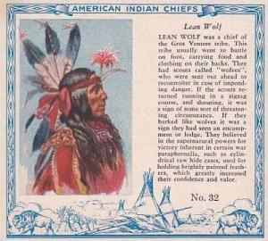 Red Man Chewing Tobacco American Indian Chiefs No 32 Lean Wolf Gros Ventres T...