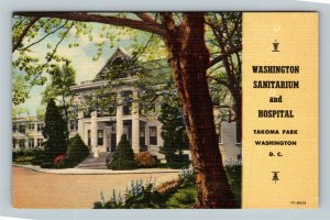 Sanitarium And Hospital Nurse Entrance Takoma Park, Linen Washington DC Postcard