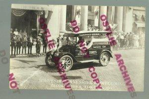 Decorah IOWA RPPC 1922 HOOD TIRES DELIVERY TRUCK Service Car Garage ADVERTISING