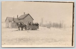 Real Photo Postcard~Victorian Ladies Stand in Big Horse Sleigh Wagon~c1910 RPPC