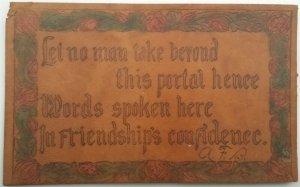 Leather Postcard Poetry Let No Man Take Beyond this Portal Hence C.1910 L15