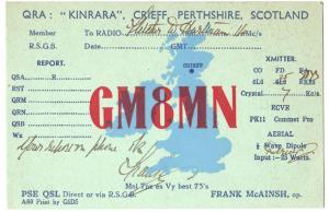 QSL, GM8MN, Crieff, Perthshire, Scotland, 1939