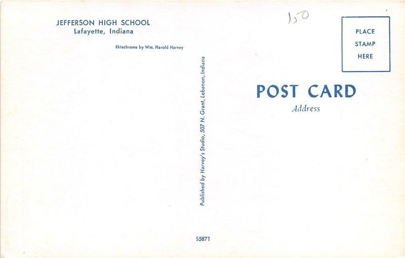 Lafayette Indiana~Jefferson High School & Street View~1950s Harold