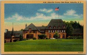 Asheville, NC Postcard ASHEVILLE COUNTRY CLUB HOUSE Curteich Linen c1940s