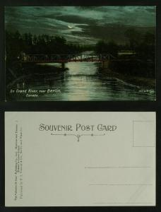On Grand river near Berlin Ont moonlight c 1910