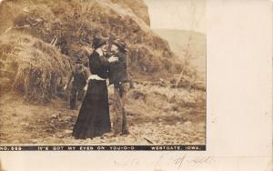 Westgate Iowa~I've Got My Eyes on You-o-o~Farm Girl~Cowboy~Hayrack~1908 RPPC