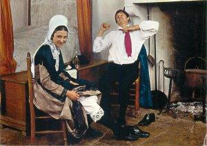 Postcard folklore du Poitou Le chaboussant rural life
