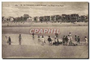 Old Postcard Le Touquet Paris Plage La Plage and La Digue Children