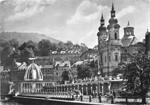 B27689 Karlovy Vary The Sprudel with St Mary Magdalena Church   czech republic
