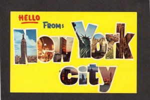 NY Hello From New York City Postcard Empire State Building Bldg NYC