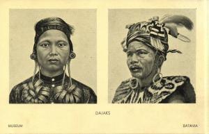 indonesia, BORNEO, Native Dayak Dajak Types (1930s) Batavia Museum Postcard (2)
