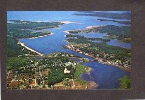 MA Wareham Narrows Harbor Bridge Cape Cod Massachusetts Postcard Aerial View