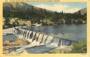 Grant Pass Oregon~Savage Rapids Dam~Rogue River from Pacific Highway~1940s