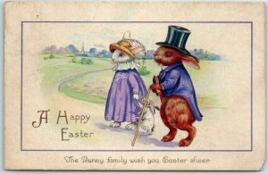 1924 Stecher DRESSED RABBIT Bunny Postcard A Happy EASTER Top Hat #1414D