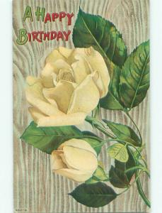 Pre-Linen BEAUTIFUL YELLOW ROSE FLOWERS FOR BIRTHDAY k4482