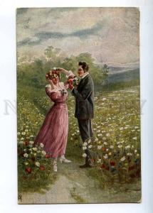 233537 Lovers on Flower Fild POPPY Camomile by AH Vintage PC