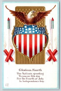 Patriotic~Glorious 4th of July~American Bald Eagle on Shield~Firecrackers~NASH