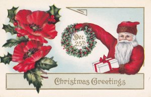 CHRISTMAS; Greetings Santa Claus holding gift and wreath of Holly, 00-10s