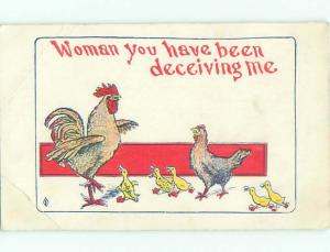 Unused Pre-1907 ROOSTER ACCUSES HEN OF CHEATING DUE TO BABY DUCKS o3025