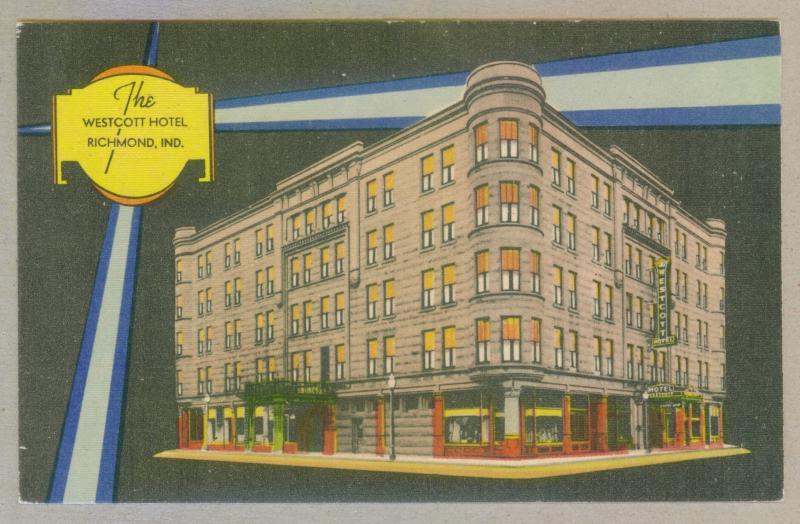 The Westcott Hotel Richmond Indiana Unused Linen Postcard